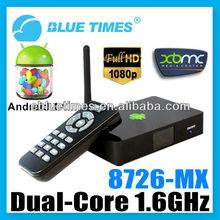 Android 4.1 XBMC Cortex A9 Amlogic 8726-MX Dual Core 1.6GHz Mini PC 3D WIFI 1080P HDMI Smart TV Box