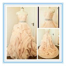 Crystal Belt Dark Champagne Organza Wedding Dresses Made In China(AC-1066)