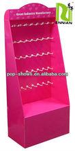 various function cardbaord display rack wtih hooks