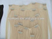 HotHair 5A grade 50% off virgin brazilian hair clip on hair extension