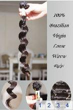 "Free Shipping 12""-30"" Loose Wave Grade AAAA 100% Brazilian virgin human hair all the hair in the same direction 40g=1.4oz/pc"