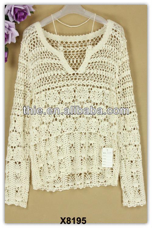 2013 - 2014 del suéter del estilo de malla de moda del cordón de la blusa y tops