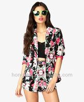Ladies Blazer Designs Single Button Rose Print Fancy Blazer HSC8132