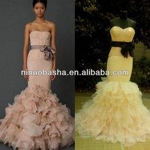 NW-0416 Elegant Mermaid Skirt with Pretty Sash Blet Wedding Dress
