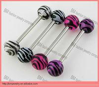 Fashion zebra acrylic plastic tongue rings body piercing jewelry
