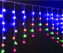 72L Multicolour LED Christmas Star Curtain Lights