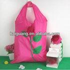 rose flower handbag polyester folding bag for shopping