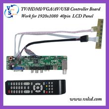 TV Board TV/HDMI/VGA/AV/USB/AUDIO work for 1920x1080 40Pin Lcd Panel