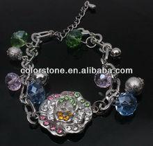 Fancy metal flower alloy chain link with bracelet,beauty bracelets with bead and rhinestone bracelet,adjustable size bracelets
