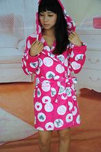100% Polyester Coral Fleece Bathrobe Hooded Robe Printed Sleepwear