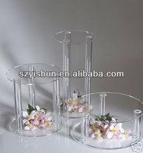 personalizado de fabricação de acrílico display de acrílico do bolo de casamento pilares display