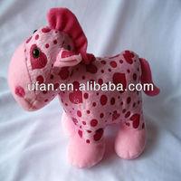 2013 new fashion design pink plush toy horse