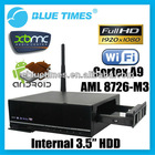 Android 4.0 Pre-installed XBMC 3D 1080p Mini PC WiFi HDMI Smart TV Box with built-in 3.5 HDD
