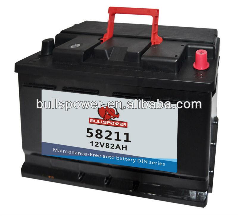 58211 DIN Standard 12v82ah Lead Acid Dry Charged Car Battery For Starting