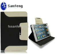 2013 new produts hot selling wallet case for ipad mini/black&white pu leather case for ipad tablet/perfect protective case