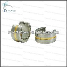 gold tone surgical stainless steel rhinestone mens huggie hoop earrings