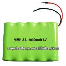 6V NIMH AA size battery pack 2000mAh