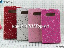 For Nokia Lumia 820 Leather Flip Case Diamond Bling Bling Cover Glitter Skin.
