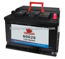 60026 DIN Standard 12v100ah volta car batteries