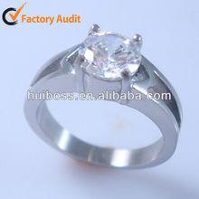 HBNR02191 Fashion Jewelry Stainless Steel Ring Big Diamond Wedding Ring