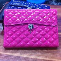 2013 newest for Apple ipad mini luxury diomand flower leather flip case korea style handbag case