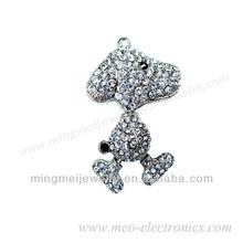 promotional gift lovely dog shape 4GB jewelry usb flash drive,diamond jewelry usb with customer's logo, jewelry usb 2.0