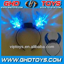 Blue crystal ox horn headwear with flashing light Party headwear