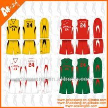 Blank colourful stylish basketball jersey uniform from China manufacturer