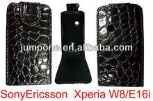 Crocodile leather flip case for Sony ericsson Xperia X8 e16i