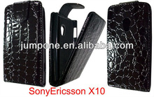 Crocodile leather flip case for Sony Ericsson Xperia X10 black