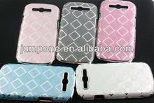 Luxury Designer Leather Chrome Square Hard Back Case For Samsung Galaxy S3 III i9300