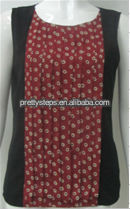 2013 Pretty Steps poly CDC brick multi spot/black ladies tops 2013 summer