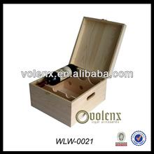 Pine Wooden Wine Box Case For 3 Bottle