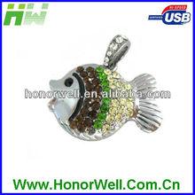 Jewelry Tropical Fish Usb Flash Drive 8GB Diamond Inset