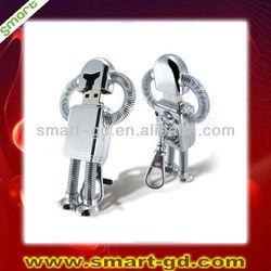 Robot shape metal usb flash drive baratos pendrive for wholesale