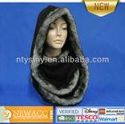 Fake fur edge hood knitted big size scarf