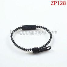 Unisex black white double color cheap plastic zipper bangle