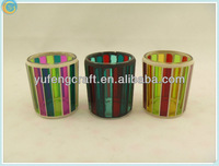 small order colorful fashion style mosica glass candle holder,candleholder,garden candle lantern