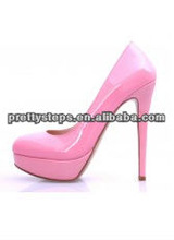 2013 Pretty Steps women ladies 2.5 cm platform pink sexy 13 cm high heel leather dress shoes