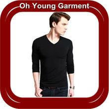 wholesale men's cotton skin tight plain blank black for printing long sleeve v-neck tshirt for promotional