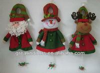 Santa Clause snowman reindeer door hanger with bell
