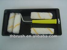 mini paint roller brush set with black plastic tray