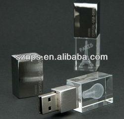 2013 China unique design USB 2.0 3D LED crystal USB flash memory flash drive pen drive 500gb