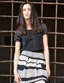 Primavera y verano de moda vestidos rayas para mujeres