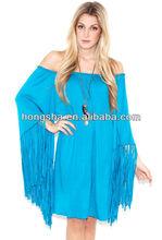 franja de playa vestido de túnica y en color turquesa para las mujeres hgs1444