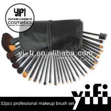 Pro 32pcs Makeup Brushes Set High Quality Blush Leather Case, wholesale makeup brush kits