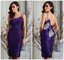 New Style fashion sheath one shoulder beaded ruffles taffeta bowknot purple cocktail dresses 2014 cd033