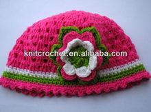 Cute Fashion Soft Milk Cotton Hand Knit Crochet Baby Beanie Hat with Hand Crochet Flower Applique (1019)