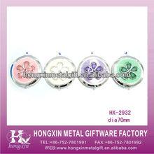 HX-2932 Colorful Flower Pattern Mini Silver Compact