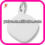 Square metal pendant jewelry,logo charm